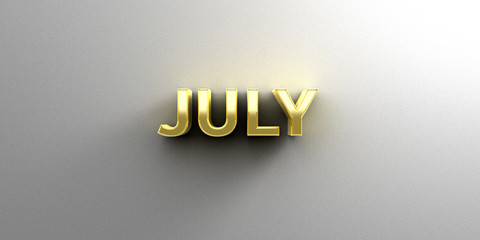 July month gold 3D quality render on the wall background with so