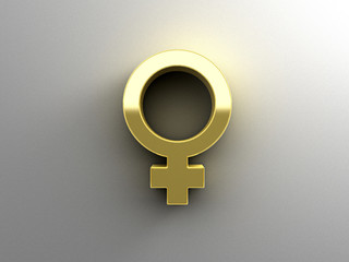 Female sex signs - gold 3D quality render on the wall background