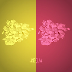 Low Poly Andorra Map with National Colors
