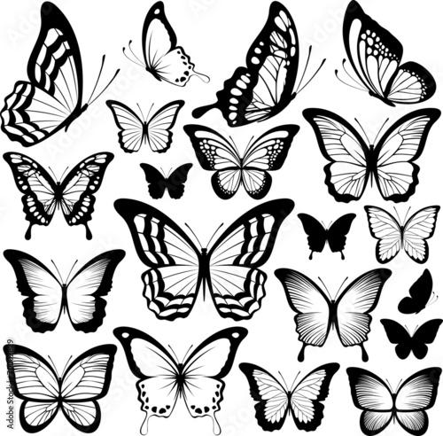 butterflies black silhouettes t-shirt