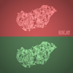 Low Poly Hungary Map with National Colors