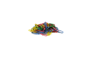 Stationery colored paper clips. Isolated object.