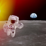 High quality isolated composite astronaut in space; elements of - Fine Art prints