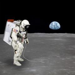 High quality isolated composite astronaut walking on moon; eleme