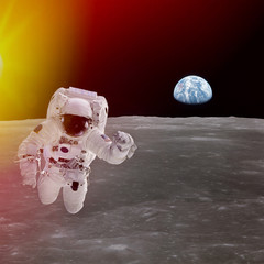 High quality isolated composite astronaut in space; elements of