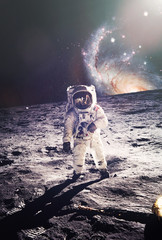 Astronaut walking on moon. Elements of this image furnished by N