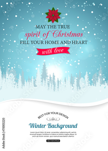 Zdjęcia na płótnie, fototapety, obrazy : Merry christmas background with winter landscape and place for