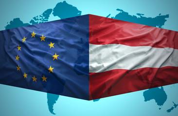 Waving Austrian and European Union flags
