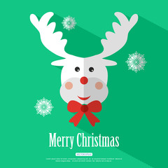 Merry Christmas background with deer Rudolf and place for text.