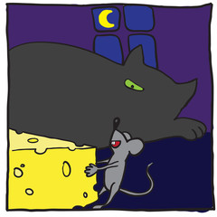 Cat, mouse and cheese. Vector illustration