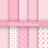 Fototapety Cute different vector seamless patterns. Pink and white color
