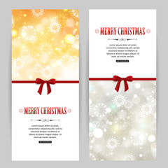 Merry christmas golden and silver banners with snowflakes,