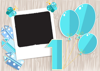 Greeting card for boy in wooden background. Vector EPS10.