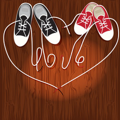 "Sneakers on the hardwood floor of laces word ""Love"". Vector EPS1"
