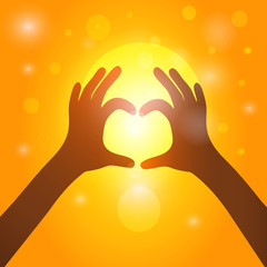 Silhouette hands  in heart shape on background of sunset. Vector
