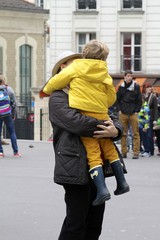 Montmartre - father hugging his son
