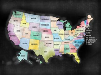 Blackboard or Chalkboard U.S.A. American States Map
