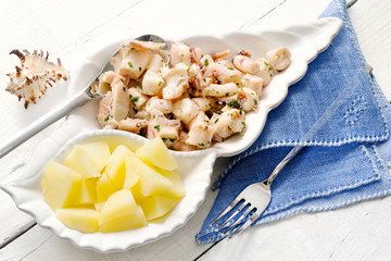 fish recipe with boiled octopus and steamed potatoes
