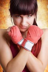 ´Portrait einer schönen Kampfsportlerin
