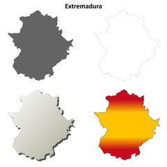 Extremadura blank detailed outline map set