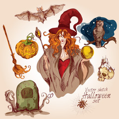 Halloween colored sketch set