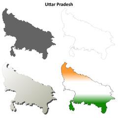 Uttar Pradesh blank detailed outline map set
