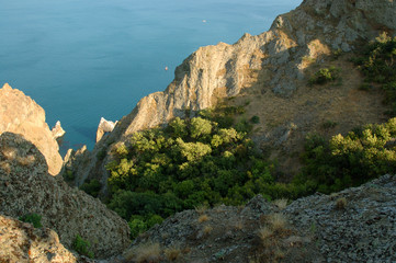 Panoramic Crimean landscape - Karadag volcanic mountain range