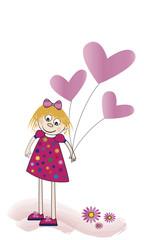 Niña alegre con globos de corazones rosas