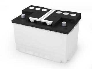 Car battery on white background