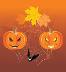 Halloween pumpkins, spiders and bat. Holiday composition