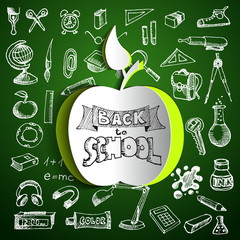 Back to school background with papercut red apple, hand drawn do