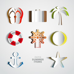 Summertime poster set made from papercut icons with white backgr