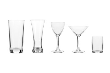 set with different empty glasses and mugs on white background