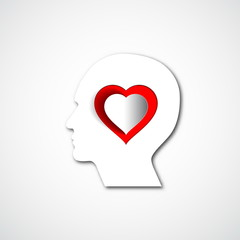 Human head with paper red heart, symbol Love and relationship