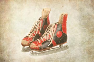 alte und gebrauchte Schlittschuhe, retro, vintage, textur,