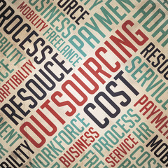 Outsourcing - Retro Word Cloud Concept.