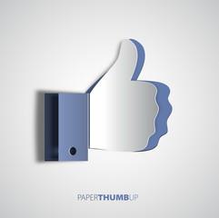 Papercut icon social networks, like us Icons, vector illustratio