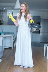 Woman Wearing Wedding Gown Showing Clean Pan