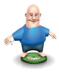 Uomo grasso su pesapersone