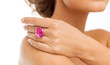 beautiful woman with big pink cocktail ring