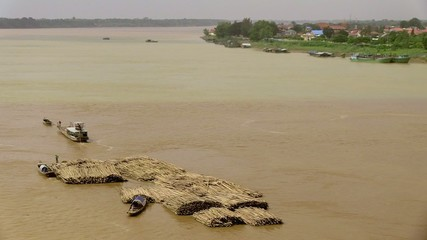 Convoy of bamboo move slowly on the mekong river (6)