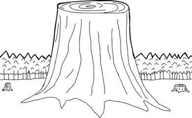 Outlined Tree Trunks