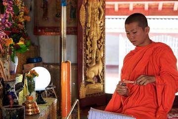Young Buddhist Monk light incense sticks
