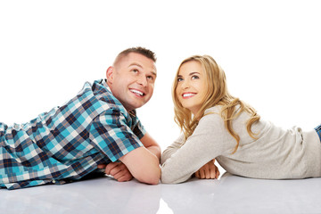 Couple look on empty copy space