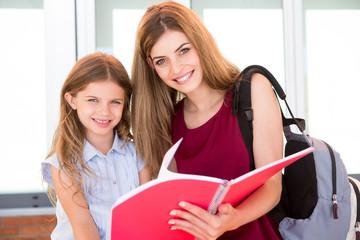 Schoolgirl and her mother
