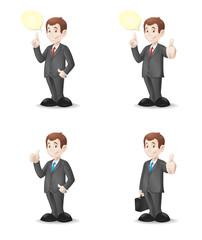 Cartoon businessman with various gestures