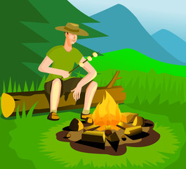 Relaxing man near campfire