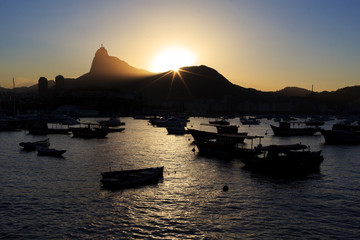 Corcovado Christ The Redeemer sunset guanabara bay, Rio de Janei