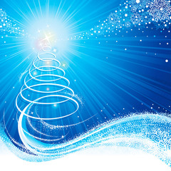 Christmas abstract tree snowflake blue glow background.