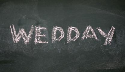 wedday written with chalk on blackboard